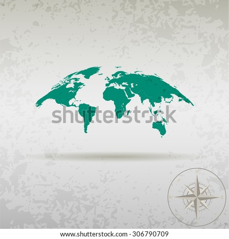 map of the earth with a compass in a stylish design - stock vector