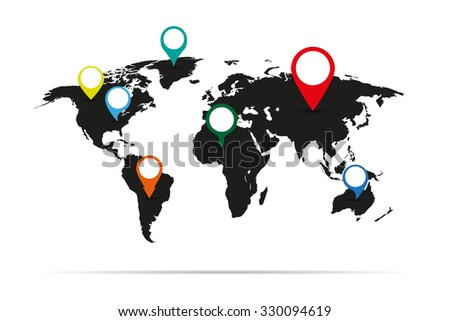 Map of the earth with labels on  different continents - stock vector