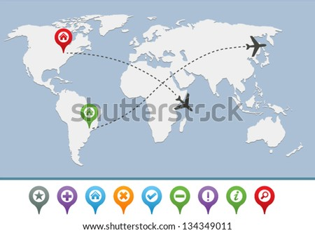 Map of the earth with pins and airplane lines - stock vector