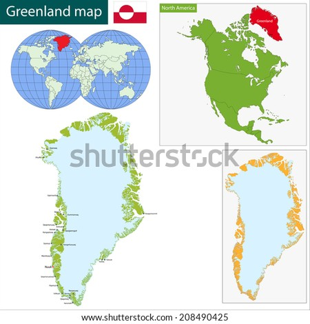 Map of the Greenland drawn with high detail and accuracy - stock vector