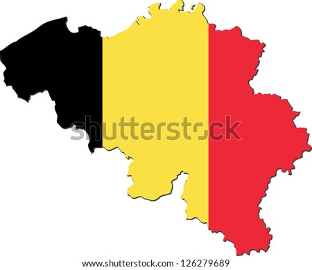 Map of the Kingdom of Belgium with national flag isolated on white background - stock vector