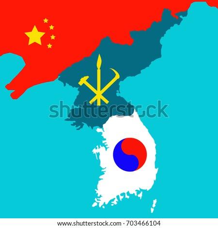 Map korean peninsula south north korea vector de stock703466104 map of the korean peninsula with the south and the north korea symbols vector gumiabroncs Images