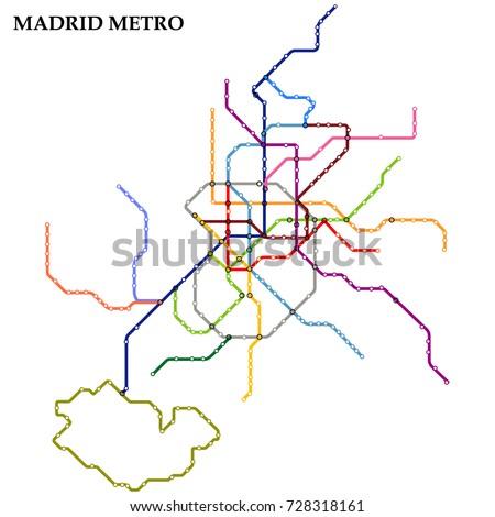 Map Madrid Metro Subway Template City Stock Vector 2018 728318161