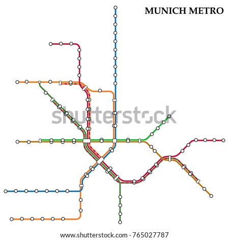 Map Munich Metro Subway Template City Stock Vector 765027787