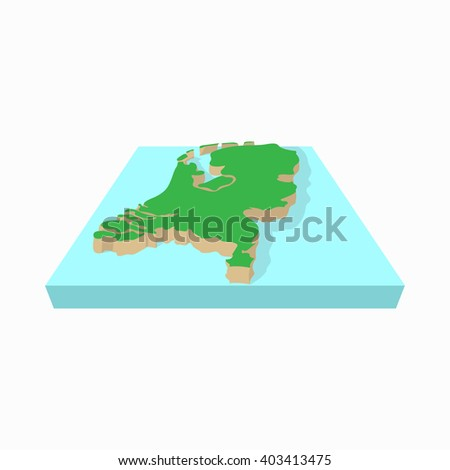 Map of the Netherlands icon, cartoon style - stock vector