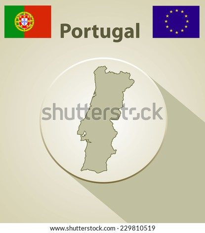 Map of the Portugal Including: flag of Portugal And European Union.