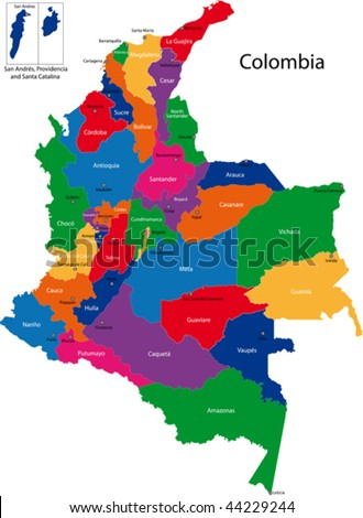 Map of the Republic of Colombia with the regions colored in bright colors and the main cities. - stock vector