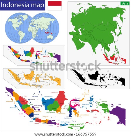 Map of the Republic of Indonesia with the provinces colored in bright colors - stock vector
