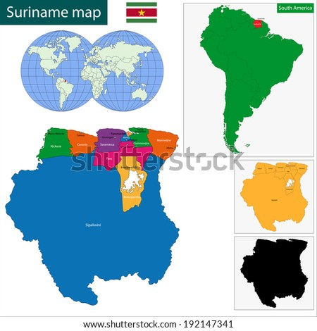 Map of the Republic of Suriname with the districts colored in bright colors and the main cities
