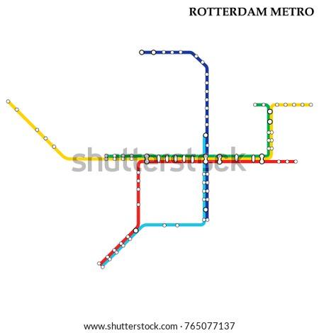 Map Rotterdam Metro Subway Template City Stock Vector HD Royalty