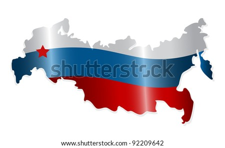 Map of the Russian Federation colored like the Russian flag. Vector-Illustration - stock vector
