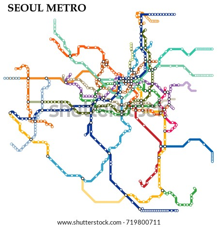 Map Seoul Metro Subway Template City Stock Vector HD Royalty Free