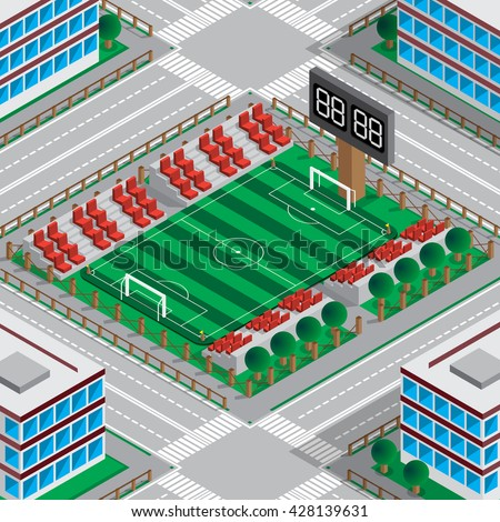 Map of the stadium with a football field. Isometric. Vector illustration. - stock vector