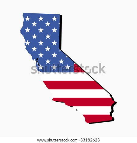 Map of the State of California and American flag illustration - stock vector