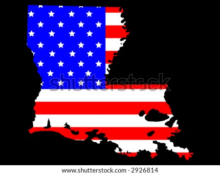 Map of the State of Louisiana and American flag - stock vector