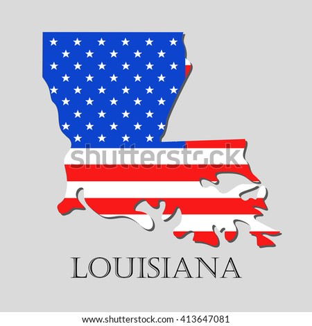 Map of the State of Louisiana and American flag illustration.  - stock vector