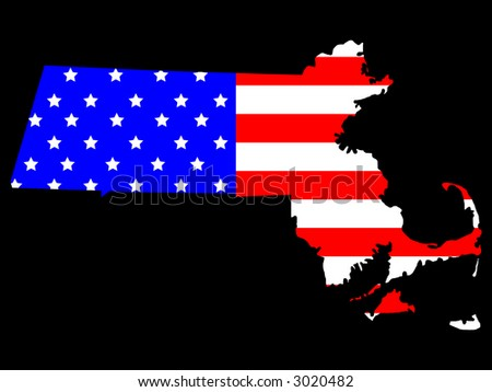 Map of the State of Massachusetts and American flag - stock vector