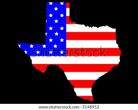 Map of the State of texas and American flag