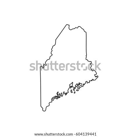 Maine Map Blue Outline Stroke Line Stock Vector - Maine on us map