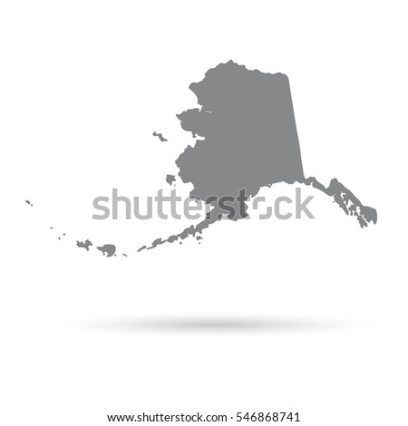 Map Of The U S State Of Alaska On A White Background