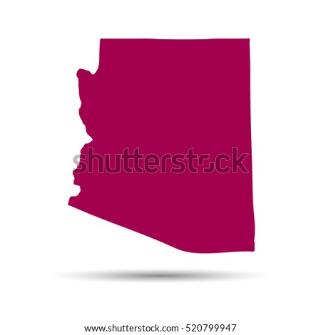 Map Of The U S State Of Arizona On A White Background