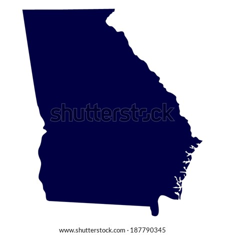 map of the U.S. state of Georgia  - stock vector