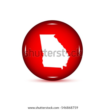 Map Of The U S State Of Georgia Red Button On A White Background