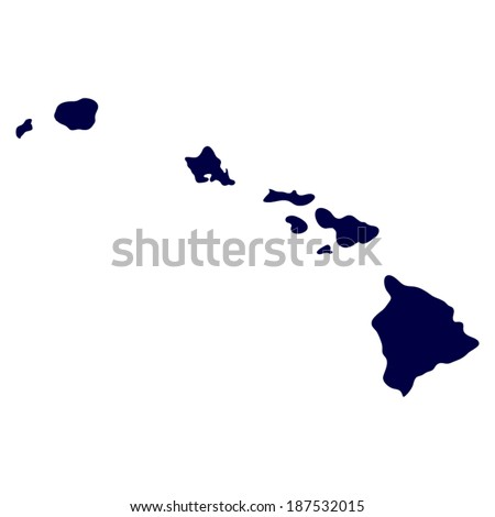 map of the U.S. state of Hawaii  - stock vector
