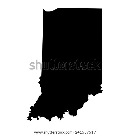 Indiana Black Mapborder Name State Stock Vector - Map of us black