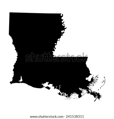map of the U.S. state of Louisiana  - stock vector