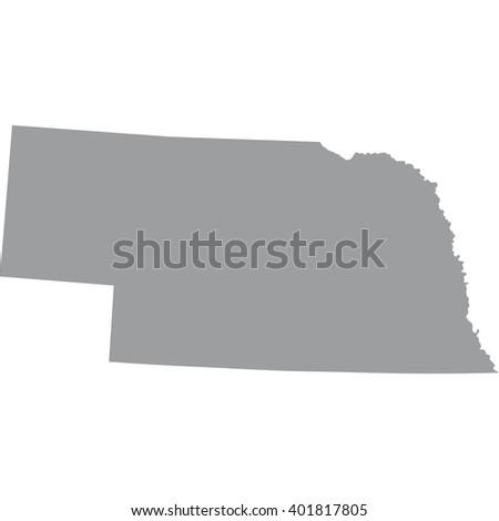 map of the U.S. state of Nebraska  - stock vector