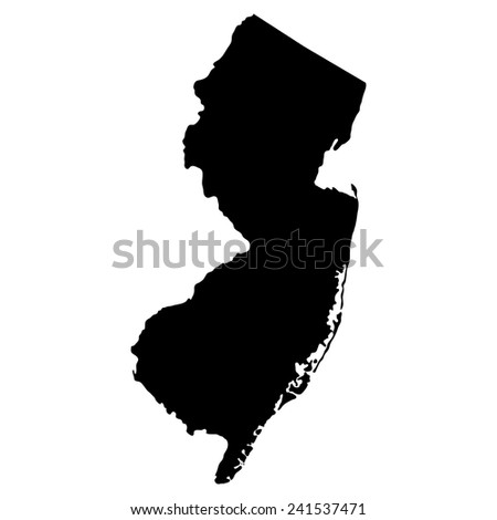 map of the U.S. state of New Jersey  - stock vector