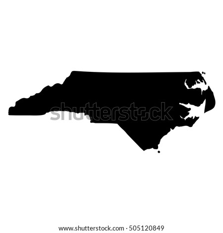 Map Of The U S State Of North Carolina On A White Background