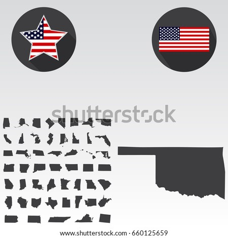 map of the u s state of oklahoma on a white background