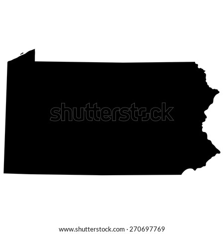 map of the U.S. state of Pennsylvania  - stock vector
