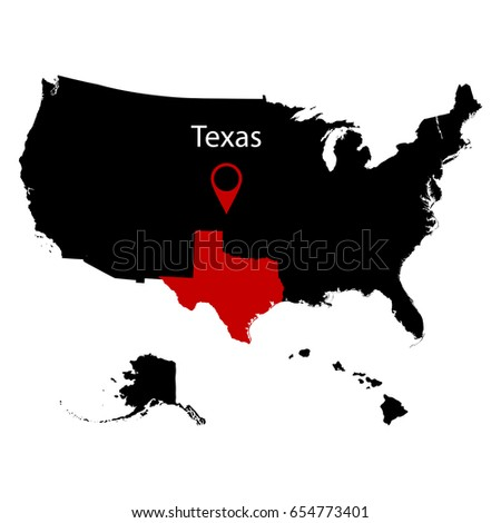 Map Us State Texas Stock Vector Shutterstock - Texas on the us map