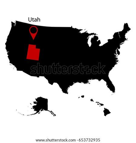 Map Us State Utah Stock Vector Shutterstock - Utah us map