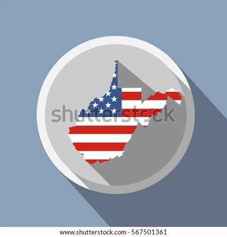 Map West Virginia American Flag Globe Stock Illustration 8353315