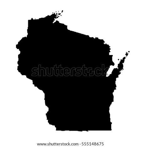 Map Us State Wisconsin Stock Vector Shutterstock - Map of us black