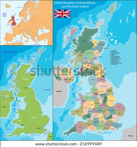 Map of the United Kingdom of Great Britain and Northern Ireland - stock vector