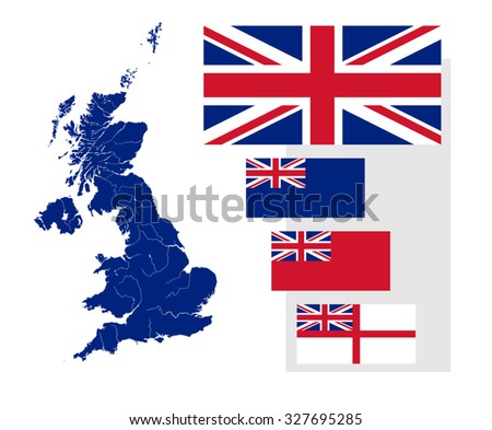 Map of the United Kingdom with rivers and four British flags - national flag, state ensign, civil ensign and naval ensign. Flags has a proper design, proportion and colors. - stock vector