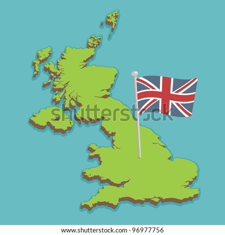 map of the united kingdom with union jack flag, no gradients or transparencies - stock vector