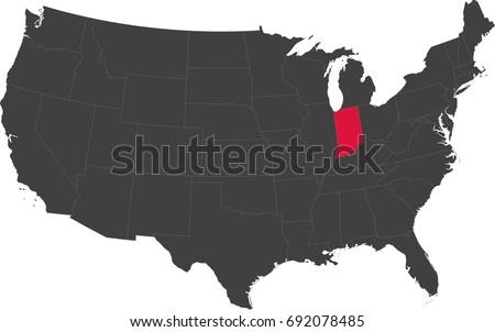 Map United States America Split Into Stock Vector - A map of the united states of america