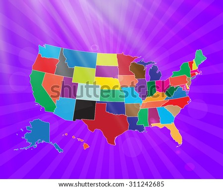 Map of The United States of America - Vector Illustration