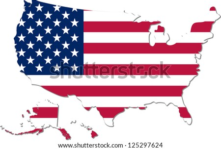 Map United States America National Flag Stock Vector - Us map all white red background