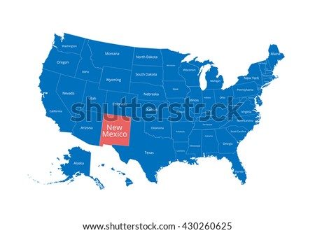 Map of the USA. Image with clipping path and name of states. New Mexico. West Virginia. Vector illustration. - stock vector