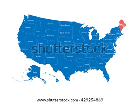 Map of the USA. Image with clipping path and name of states. State mark. Maine. Vector illustration. - stock vector