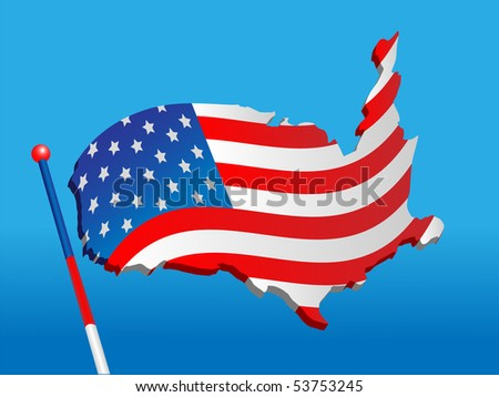 Map of the USA made in the form of national flag on a blue color - stock vector
