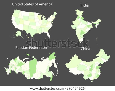 Map usa russia india china vector vectores en stock 590434631 map of the usa russia india and china vector illustration gumiabroncs Image collections