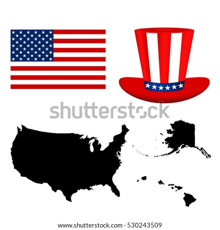 Map of the USA with a hat and flag on white background vector.
